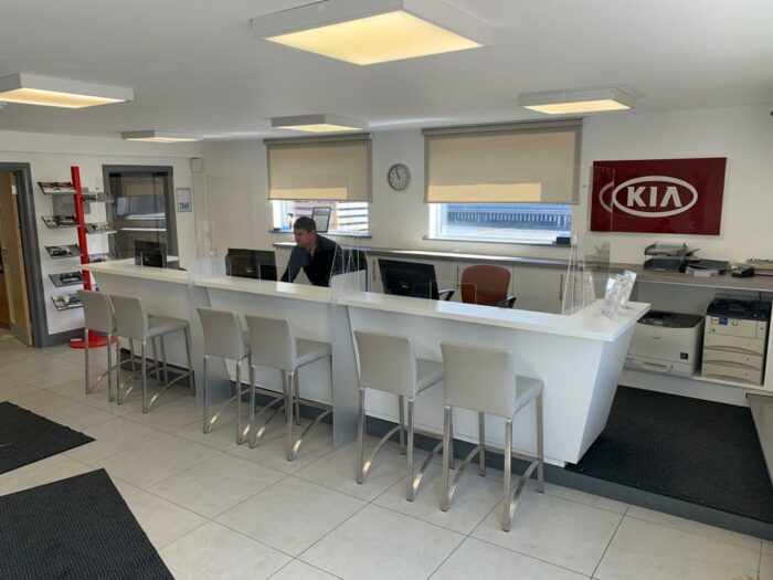 car showroom and reception desk protective screens