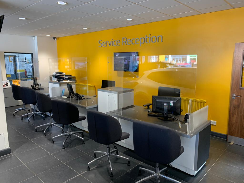 car showroom and reception desk protective screens26